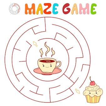 Labyrinth-puzzle-spiel für kinder. kreislabyrinth oder labyrinthspiel mit kuchen und tee.