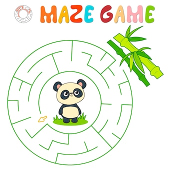 Labyrinth-puzzle-spiel für kinder. kreislabyrinth oder labyrinthspiel mit panda.