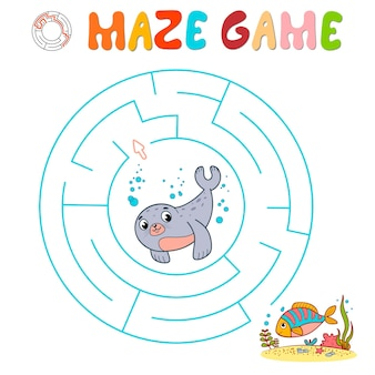 Labyrinth-puzzle-spiel für kinder. kreislabyrinth oder labyrinthspiel mit siegel.
