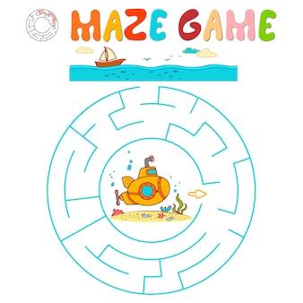 Labyrinth-puzzle-spiel für kinder. kreislabyrinth oder labyrinthspiel mit u-boot.