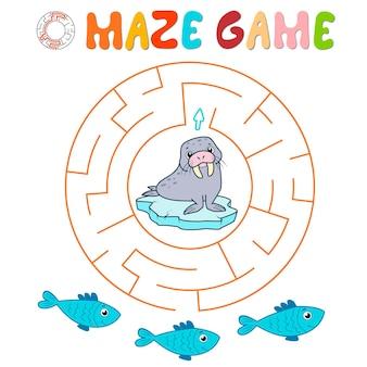 Labyrinth-puzzle-spiel für kinder. kreislabyrinth oder labyrinthspiel mit walross.