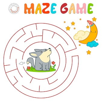 Labyrinth-puzzle-spiel für kinder. kreislabyrinth oder labyrinthspiel mit wolf.