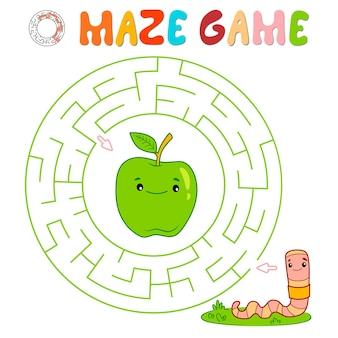 Labyrinth-puzzle-spiel für kinder. kreislabyrinth oder labyrinthspiel mit wurm.