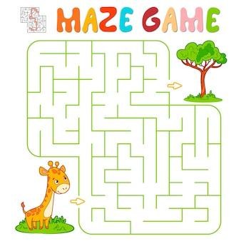 Labyrinth-puzzle-spiel für kinder. labyrinth- oder labyrinthspiel mit giraffe. vektorillustrationen