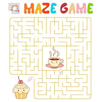 Labyrinth-puzzle-spiel für kinder. labyrinth- oder labyrinthspiel mit kuchen und tee. vektorillustrationen