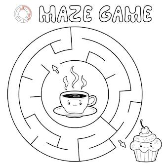 Labyrinth-puzzle-spiel für kinder. umreißen sie kreislabyrinth oder labyrinthspiel mit kuchen und tee.