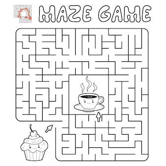 Labyrinth-puzzle-spiel für kinder. umriss-labyrinth- oder labyrinth-spiel mit kuchen und tee. illustrationen