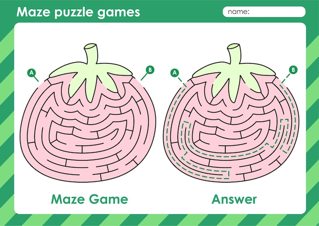 Labyrinth-puzzle-spielaktivität für kinder mit fruchtbildtomate