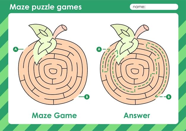 Labyrinth-puzzle-spiele aktivität für kinder mit fruchtbild orange