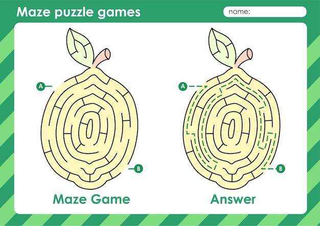 Labyrinth-puzzle-spiele aktivität für kinder mit fruchtbild zitrone