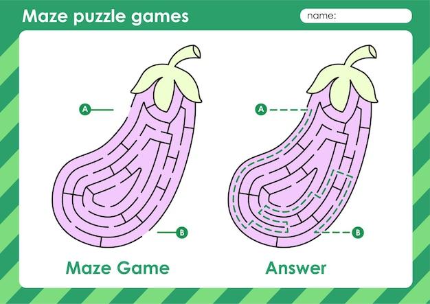 Labyrinth-puzzle-spiele aktivität für kinder mit obst und gemüse bild aubergine