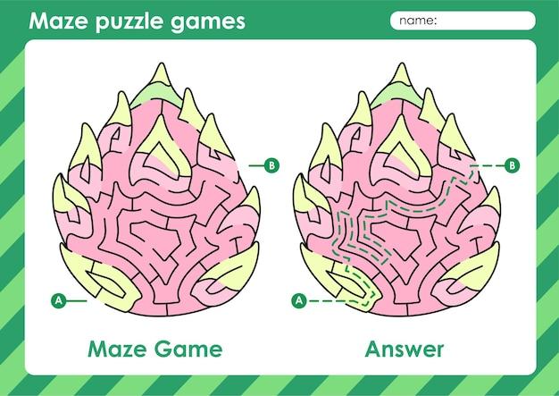 Labyrinth-puzzle-spiele aktivität für kinder mit obst und gemüse bild drachenfrucht