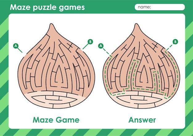 Labyrinth-puzzle-spiele aktivität für kinder mit obst und gemüse bild haselnuss