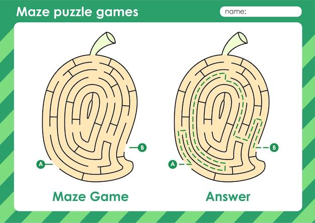 Labyrinth-puzzle-spiele aktivität für kinder mit obst und gemüse bild mango