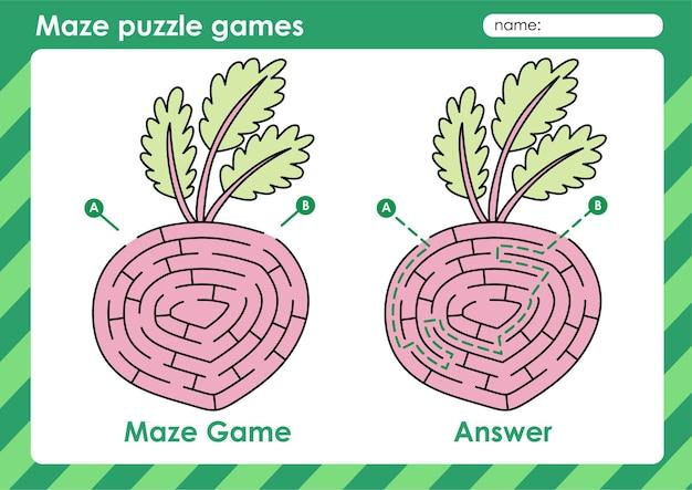 Labyrinth-puzzle-spiele aktivität für kinder mit obst und gemüse bild rote beeteet