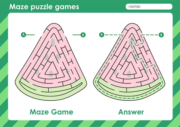 Labyrinth-puzzle-spiele aktivität für kinder mit obst und gemüse bild wassermelone