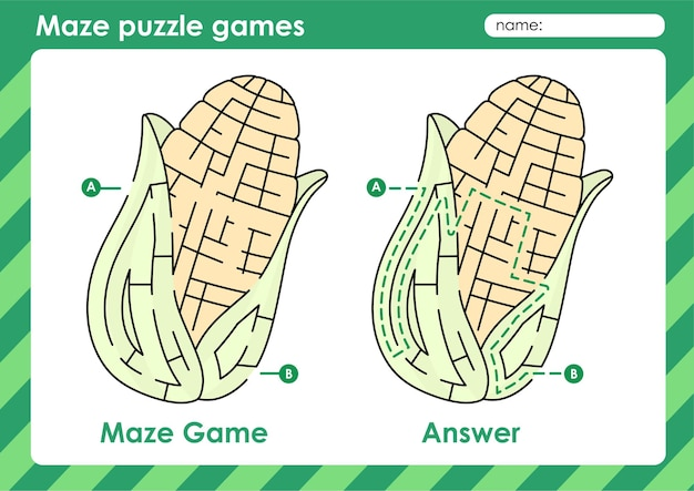 Labyrinth-puzzle-spiele aktivität für kinder mit obst und gemüse bildmais