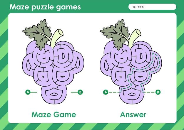 Labyrinth-puzzle-spiele aktivität für kinder mit obst und gemüse bildtraube