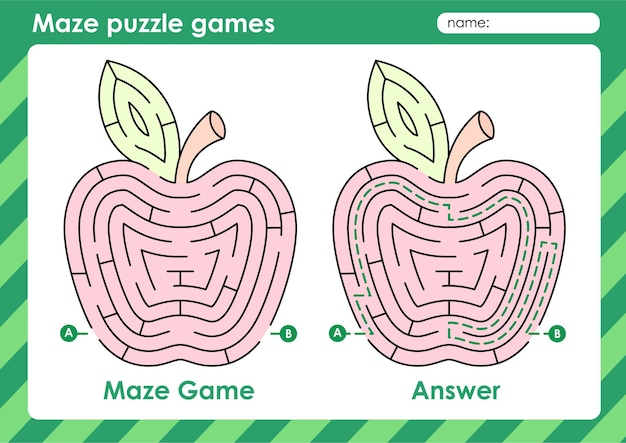 Labyrinth-puzzle-spiele-aktivität für kinder mit obstbild apfel