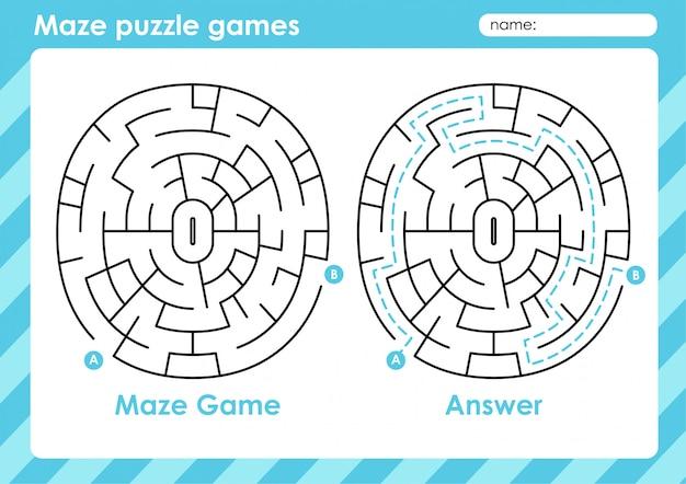 Labyrinth-puzzlespiele - aktivität für kinder: kreis