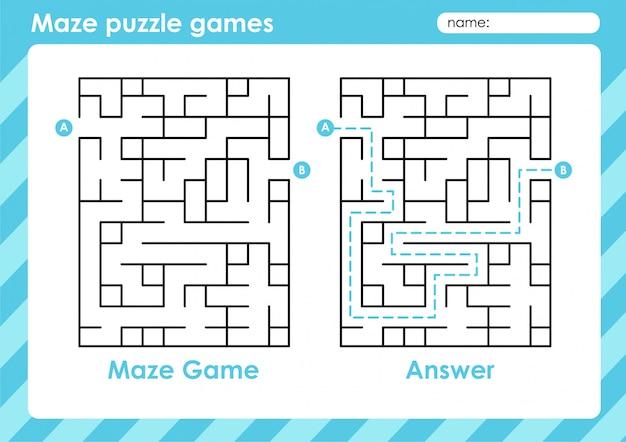Labyrinth-puzzlespiele - aktivität für kinder: rechteck