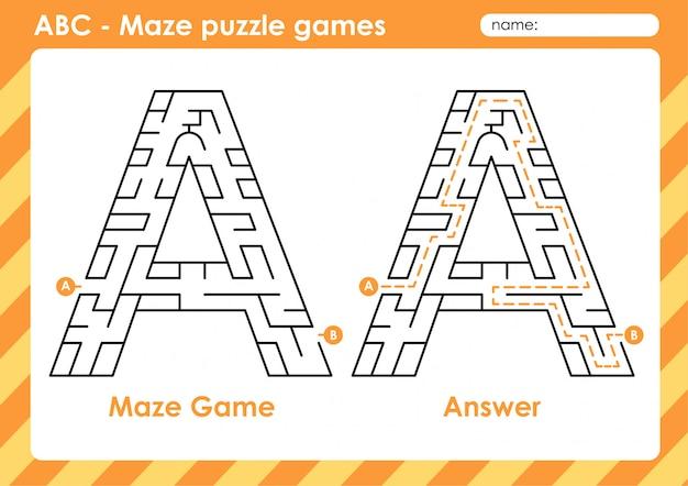 Labyrinth-puzzlespiele - alphabet a bis z lustiges spielset für kinder buchstabe: a.