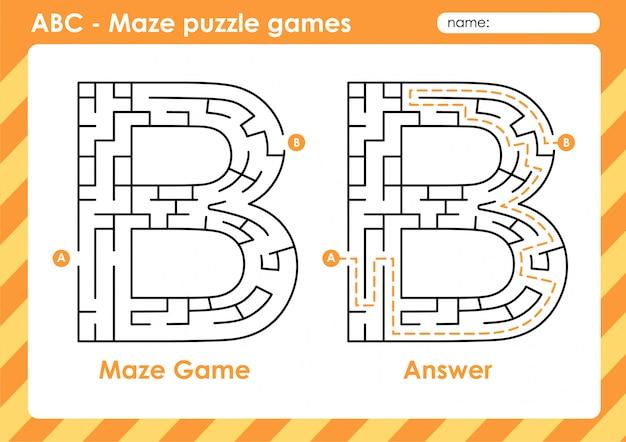 Labyrinth-puzzlespiele - alphabet a bis z lustiges spielset für kinder buchstabe: b.