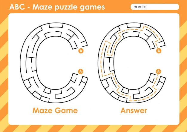 Labyrinth-puzzlespiele - alphabet a bis z lustiges spielset für kinder buchstabe: c.