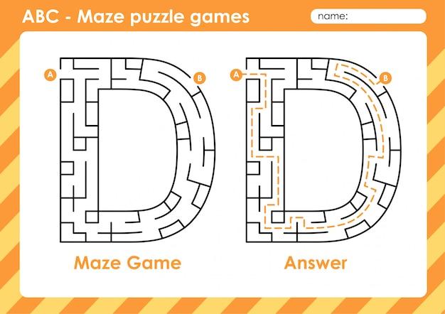 Labyrinth-puzzlespiele - alphabet a bis z lustiges spielset für kinder buchstabe: d.
