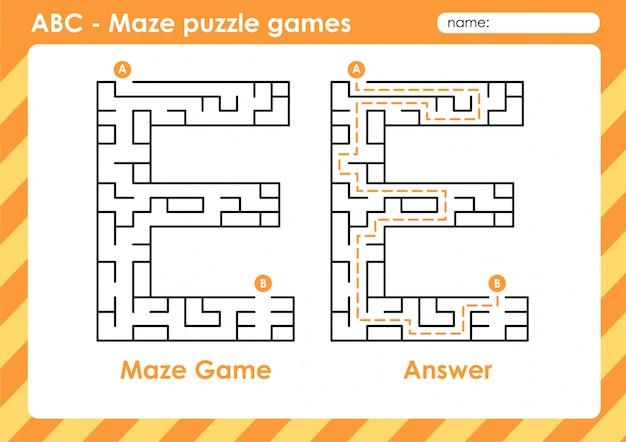 Labyrinth-puzzlespiele - alphabet a bis z lustiges spielset für kinder buchstabe: e.