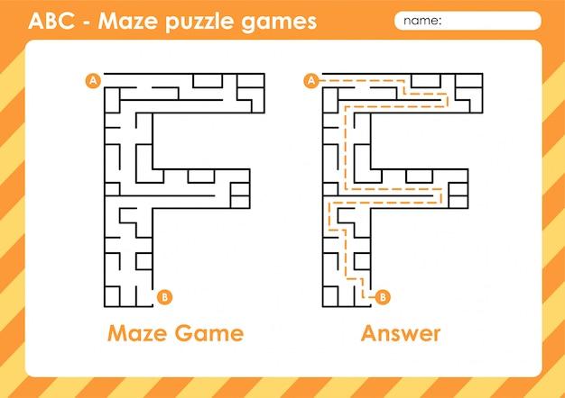 Labyrinth-puzzlespiele - alphabet a bis z lustiges spielset für kinder buchstabe: f.