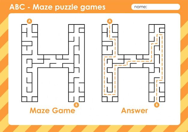 Labyrinth-puzzlespiele - alphabet a bis z lustiges spielset für kinder buchstabe: h.