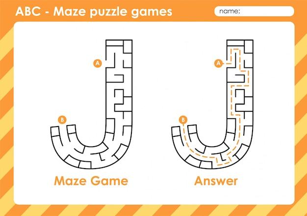 Labyrinth-puzzlespiele - alphabet a bis z lustiges spielset für kinder buchstabe: j.