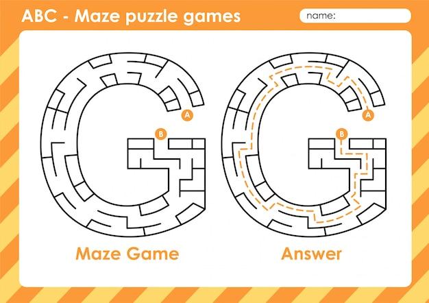 Labyrinth-puzzlespiele - alphabet a bis z lustiges spielset für kinder letter: g.