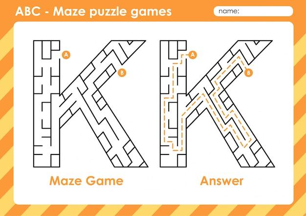 Labyrinth-puzzlespiele - alphabet a - z aktivität für kinder: buchstabe k.