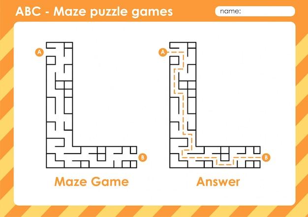 Labyrinth-puzzlespiele - alphabet a - z aktivität für kinder: buchstabe l.