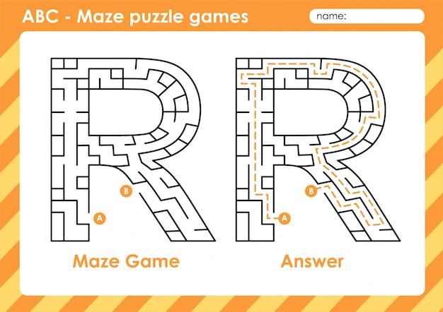 Labyrinth-puzzlespiele - alphabet a - z aktivität für kinder: buchstabe r.