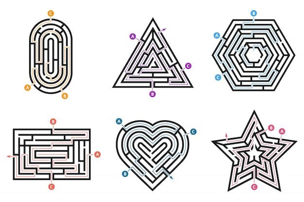 Labyrinth-rätsel. suche weg, viele wege richtungen labyrinth und labyrinthe kinderspiel isoliert set