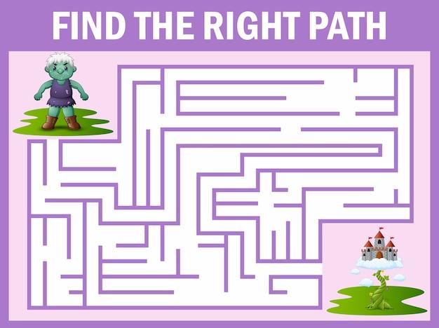 Labyrinth-spiel des riesen findet seinen weg zum himmelspalast