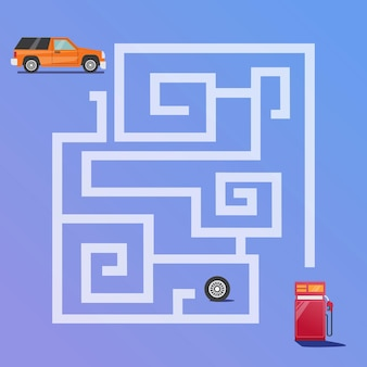 Labyrinth-spiel findet den autoweg zum tankstellen-premium-vektor für kinderbildung und sammlung