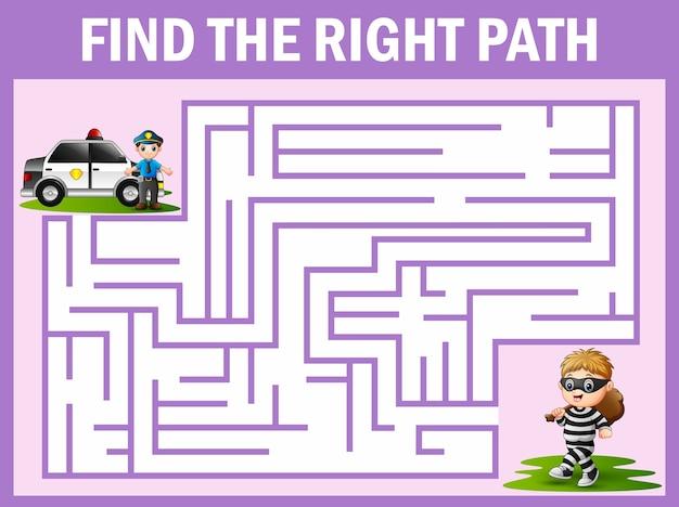 Labyrinth-spiel findet die polizei weg zum dieb zu bekommen