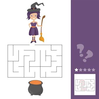 Labyrinth-spiel für kinder mit hexe. lasst uns dieser alten hexe helfen, den kessel zu finden. arbeitsblatt für den unterricht oder zu hause mit den kindern