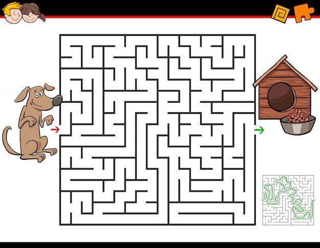 Labyrinth-spiel für kinder mit hund und hundehütte