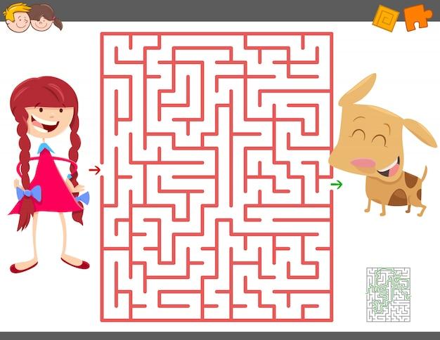 Labyrinth-spiel für kinder mit mädchen und ihrem welpen