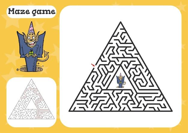 Labyrinth-spiel für kinder niedliches cartoon-arbeitsblatt