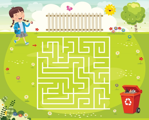Labyrinth-spiel-illustration für kinder