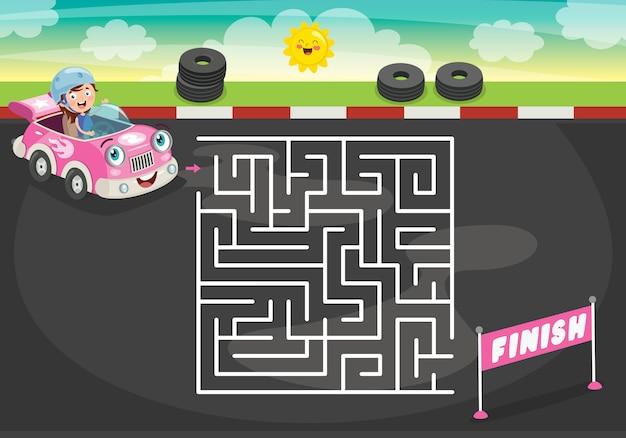 Labyrinth-spiel-illustration für kinder