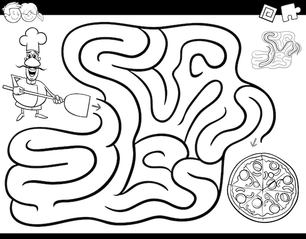 Labyrinth spiel malbuch mit chef und pizza