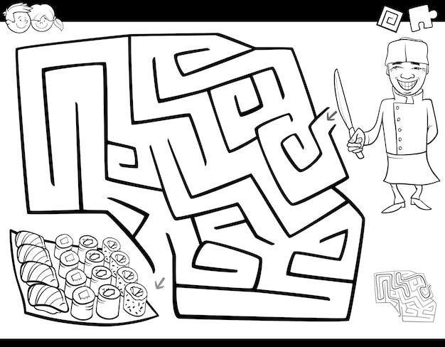 Labyrinth spiel malbuch mit chef und sushi
