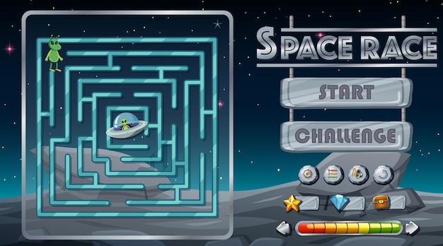 Labyrinth-spiel mit weltraum-thema-vorlage